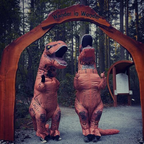 Tyrannosaurus Rex dinosaurs visiting Price Sculpture Forest entry arch - photo and dinosaurs by Jackie Albor of Issaquah WA